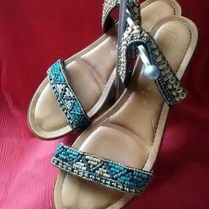 Italian Shoemakers. Beaded wedge sandals